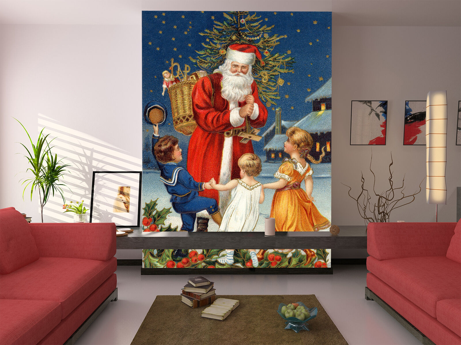 3D Father Christmas 111 Wall Paper Wall Print Decal Wall Deco Indoor Wall