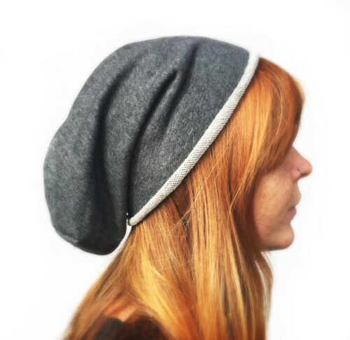 NEU Long Beanie XXL Baumwolle Unisex Jersey Sommer Mütze schwarz grau Slouch