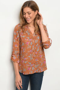New-Brown-Caramel-Floral-Long-Sleeve-Western-Button-Down-Blouse-Shirt-S-M-L