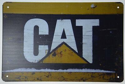 """CAT CATERPILLAR Metal Tin Sign Backhoe Excavator Skid Steer Garage 12x8/"""" NEW"""