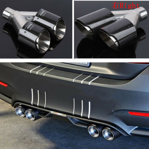 1x Carbon Fiber Car Exhaust Muffler Tip Dual-Pipes In-63mm//Out-89mm Glossy Right