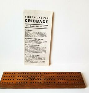 1940's Drink Coca Cola, Wood Cribbage Board & 4 Pegs. Plus Instructions