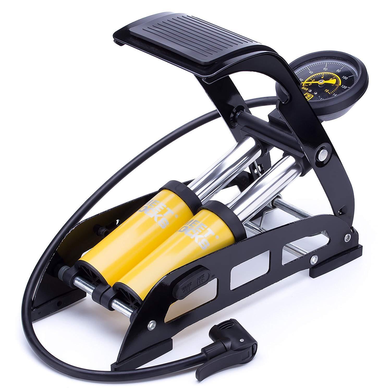 Bomba de aire para pie de bicicleta, cuerpo de aluminio 160 PSI, manómetro