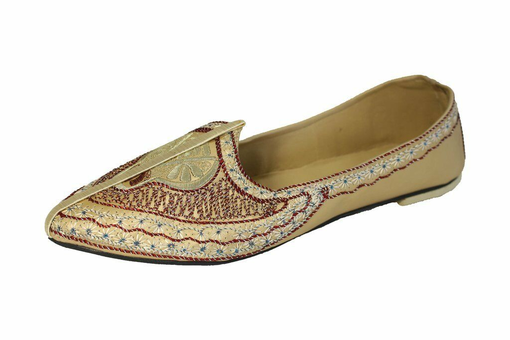 Sizes 7,8.5 New Indian Men Handmade gold Mojari Khussa Jutti shoes UK SELLE