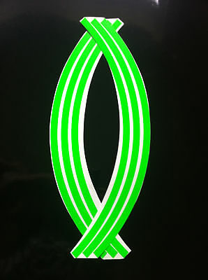 38 pieces//9 per wheel 9mm wheel rim tape striping stripes stickers Green..