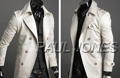 Fashion Mens Long Trench Coat Double Breasted Pea Coat Winter Jacket Overcoat