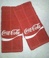 COCA COLA LOGO SODA COKE EMBROIDERED KITCHEN TOWEL SET 2 - MAROON