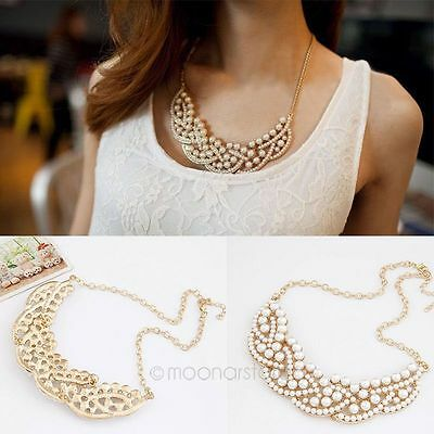 Fashion Jewelry Pearl Choker Chain Chunky Collar Statement Bib Vintage Necklace