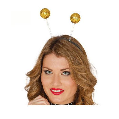 1980s Style Fun Gold Glitter Ball Boppers Fancy Dress Head Band