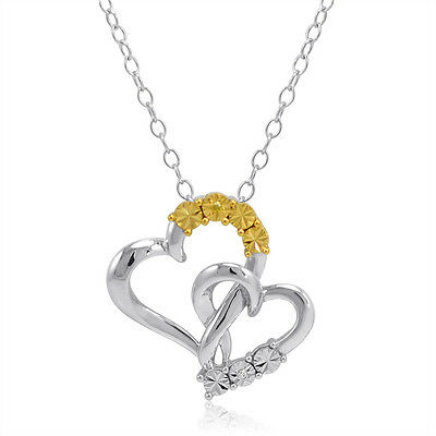 White and Yellow Diamond Heart Pendant-Necklace in Sterling Silver