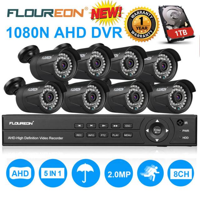 FLOUREON 8CH 1080P 1080N AHD DVR 4X 3000TVL HD 1080P 2.0MP Camera Security Kit