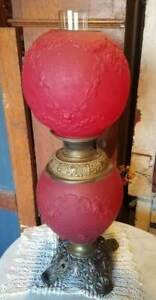 Antique-Victorian-BRADLEY-amp-HUBBARD-RED-Embossed-Satin-Glass-OIL-LAMP-Non-elec