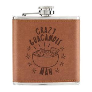 Crazy-Guacamole-Homme-Stars-170ml-Cuir-PU-Hip-Flasque-Fauve-Papa-Avocat-Drole