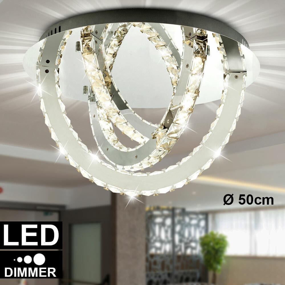 LED Kristall Decken Leuchte 36 W Dimmer Bogen Design Chrom Strahler Lampe klar