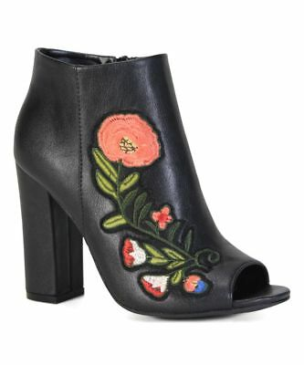 Encounter-55S By Bamboo Block Heels Embroidery Women/'s Ankle Booties Peep Toe