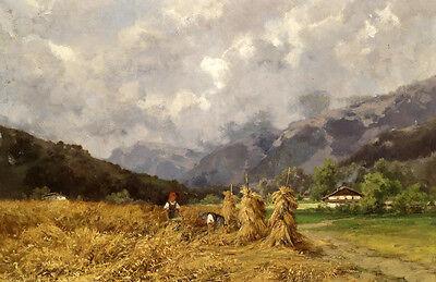 Art Oil painting woman in autumn Harvest season in field landscape canvas