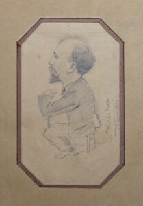 Alfred LE PETIT (1841-1909) Porträt Mann 1883 Karikatur Zeichnung
