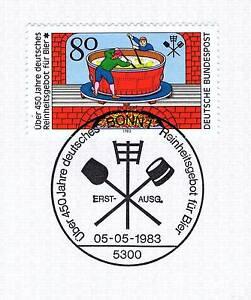 Radient Rfa 1983: Deutsches Pureté Offre Pour La Bière Nº 1179 Avec Cachet De Bonn! 1a! 155-afficher Le Titre D'origine Soulager La Chaleur Et Le Soleil