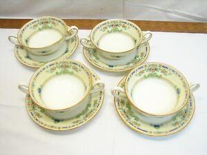4 Royal Doulton The Ormonde Handled Bullion Soup Bowls Fine China & Saucer Plate