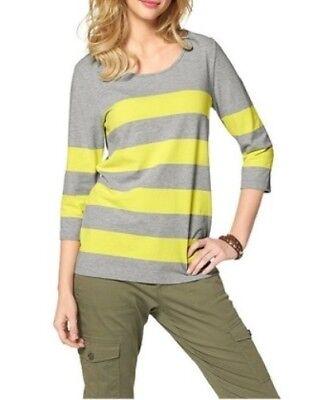 Cheer Damen Shirt 3//4 Arm Streifen Bluse Tunika grau gelb Gr 36 603630
