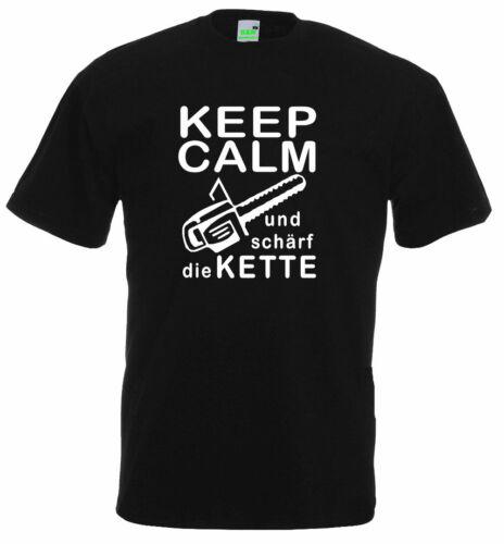 T-ShirtKeep Calm Et compactem la chaîneFörsterchasseurForêt1245-0
