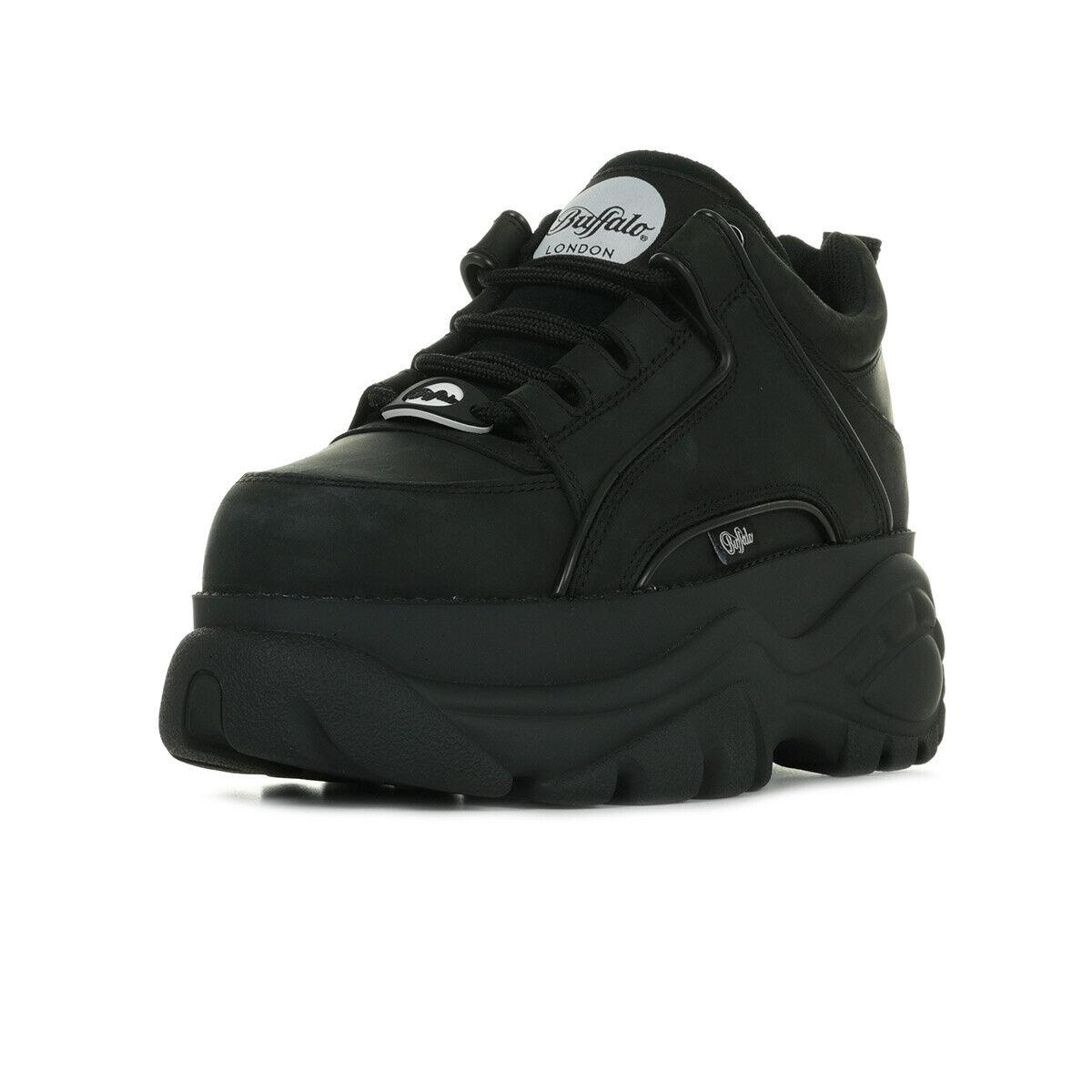 Buffaloskor skor klassiska läder kvinnor storlek svart läder svarta svarta svarta skosnören  billig butik