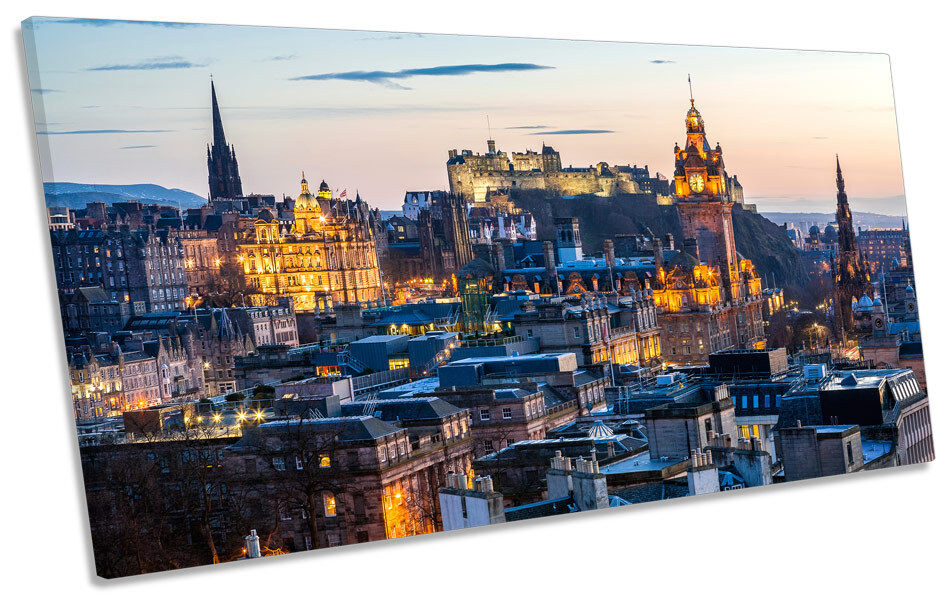 Edinburgh Sunset Stadt Skyline PANORAMIC CANVAS Wand Kunst Framed Drucken