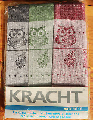 2x Handtücher Eule Küchentücher Kracht Küche Frottier Herbst Eulen Mond Nacht