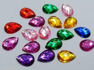250-x-High-Quality-Teardrop-Pear-Rhinestones-Beads-8mm-x-5mm-BUY-3-GET-1-FREE