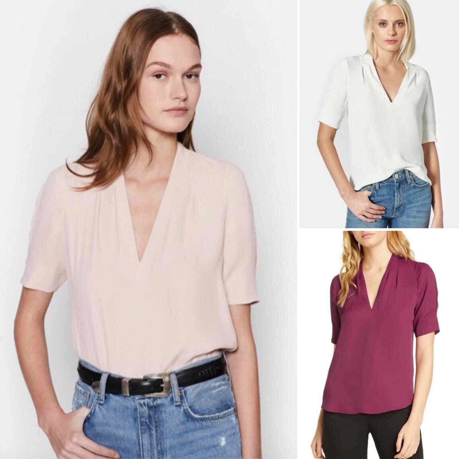 Joie 100% Silk Acne Blouse Top Womens M Pink half sleeve