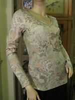 One World Pretty Green Blouse With Floral Sparkle In Size M (nwt)