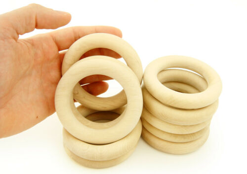 """3 1//7/"""" Set of 10 Natural Eco Toy Organic Wooden Teething Ring Medium size 80mm"""