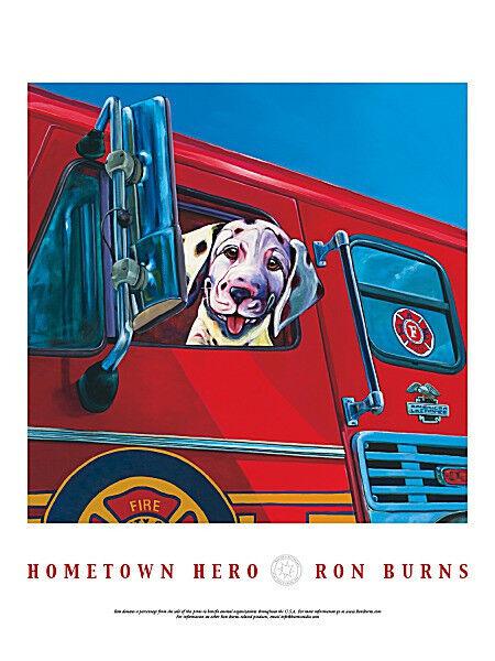 DALMATIAN DOG ART PRINT Hometown Hero - Ron Burns 24x18 Fireman Firetruck Poster