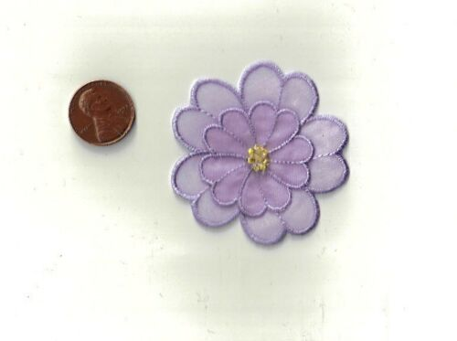Purple Flower with Beads Iron-On Applique  Sewing Craft Embellishment