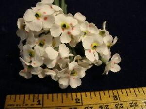 Vintage-Millinery-Flower-Petite-Organdy-Lot-12-bloom-cluster-NM5-White