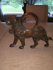 antique Saint Bernard Dog Clock bronze finish over cast free standing