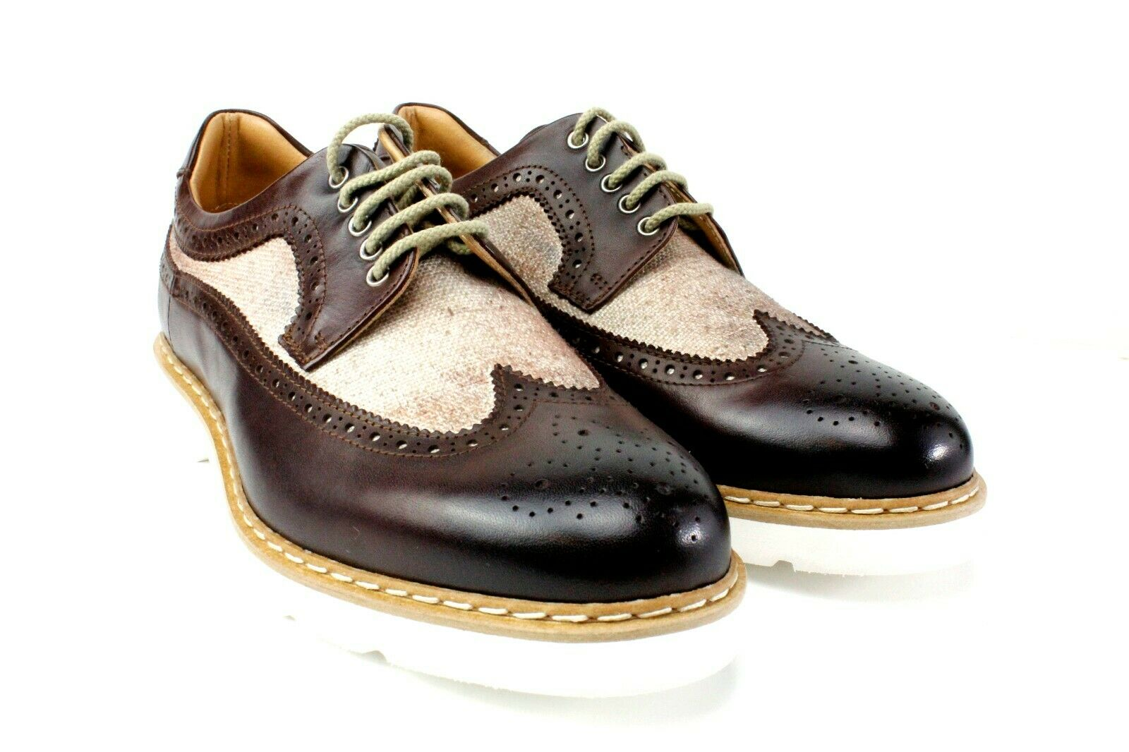 IVAN TROY Steve Brown Handmade Italian Leather Dress shoes Oxford Office shoes