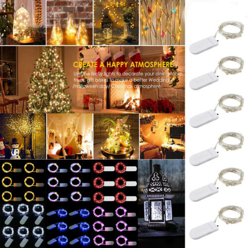 10 Led Battery Power Operated Copper Wire Mini Fairy Lights String Xmas Decor G