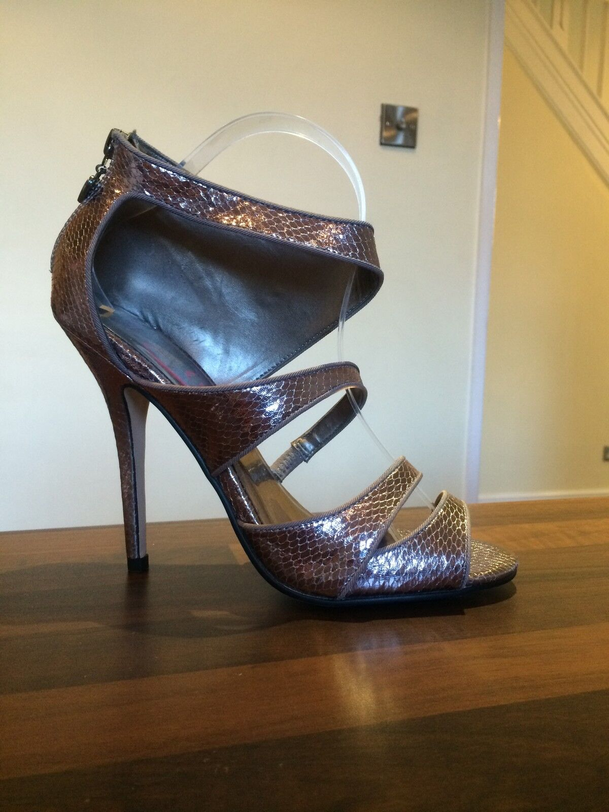LIPSY Silver Gunmetal Metallic StrappyHigh Heels Peep Toe shoes Size 40 UK7
