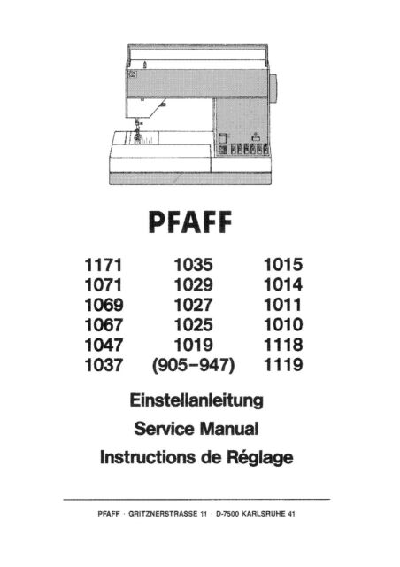 pfaff 1067 1069 1118 1119 1171 service repair maintenance rh ebay com pfaff service manuals Pfaff Sewing Machine Parts