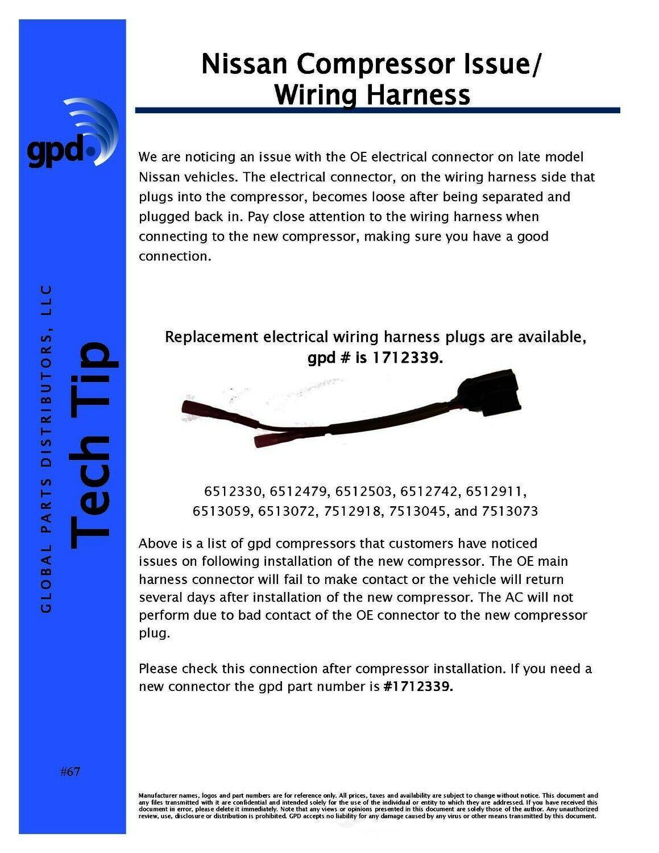 A C Compressor Wiring Harness Global 1712339 For Sale Online Ebay