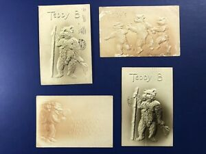 1907-4-Teddy-039-s-Antique-Postcards-Embossed-For-Collectors-Nice-w-Value