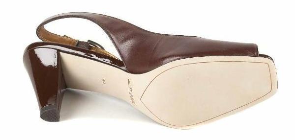New CIRCA JOAN & Heel DAVID Damens Braun Leder Heel & Slingback Peep Toe Schuhe Sz 7 M 5b9f64