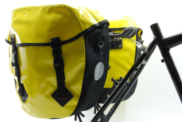 WATERPROOF BICYCLE REAR PANNIERS,BIKE TOURING BAGS,HEAVY DUTY,YELLOW,LARGE