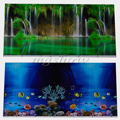 Double Sided Aquarium Landscape Poster Fish Tank Background Picture Wall Decor