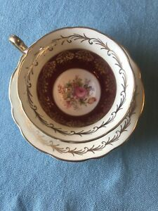 Vintage-EB-Foley-Bone-China-Tea-Cup-amp-Saucer-Burgundy-Floral-Made-In-England