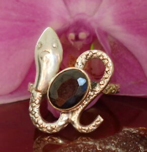 Details about Ring Snake Holding Onyx Black Stone of the Capricorn Sterling  Silver 925