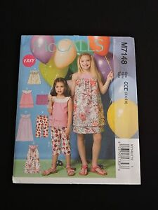 McCalls-Easy-Sewing-Pattern-M7148-Girls-Party-Summer-Tops-Dresses-Capris-3-4-5-6