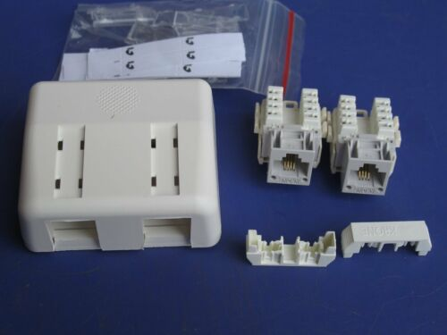 DUAL Krone COMPLETE Surface Telephone Socket Outlet Telstra TPG + Jacks BEST QTY