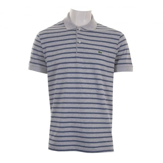 f4fdf089e7d0 BNWT Autentico Autentico Autentico Lacoste Polo Shirt grigio con motivo a  righe blu scuro Regular Fit-FR 6 US XL 102b40